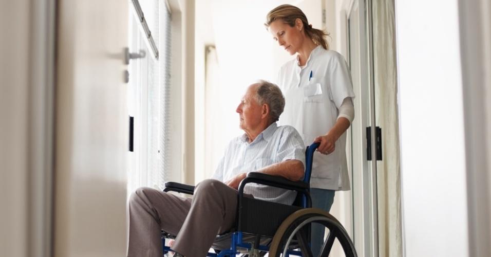 mídia indoor, ciência e saúde, velho, idoso, terceira idade, envelhecimento, envelhecer, doente, doença, cadeirante, cadeira de rodas, enfermeira, médico, medicina, hospital, avô, paciente, asilo, aposentado, aposentadoria