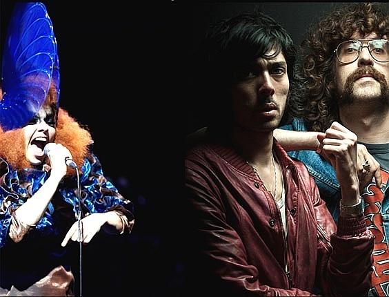 Entre as primeiras atrações confirmadas no festival Sónar de 2012 estão Björk (esq.) e o duo Justice (dir.)