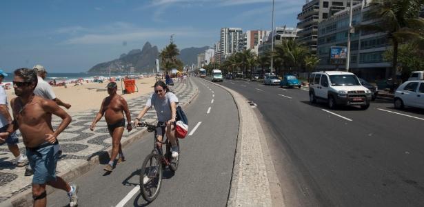 Ciclovia da praia de Ipanema, no bairro de Ipanema, na zona sul do Rio