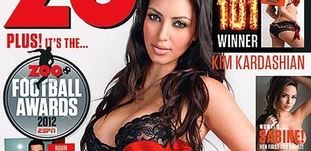 A socialite Kim Kardashian, que posou de lingerie para a capa da revista britnica 