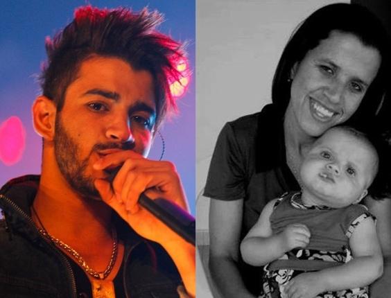 Montagem com o cantor Gusttavo Lima e a irmã dele, Luciana, que morreu dormindo aos 26 anos