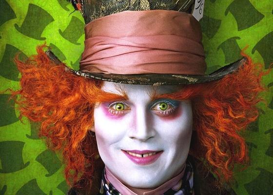 O ator norte-americano Johnny Depp interpreta o Chapeleiro Maluco na filmagem em 3D de ''Alice no País das Maravilhas''