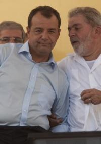 O governador do Rio, Sérgio Cabral, ao lado do presidente Lula