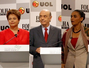 Dilma Rousseff (PT), José Serra (PSDB) e Marina Silva (PV) no debate Folha-UOL; veja fotos