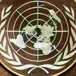 Mídia Indoor; ONU; Organização das Nações Unidas; símbolo; logo; escudo; reunião; conferência - Getty Images