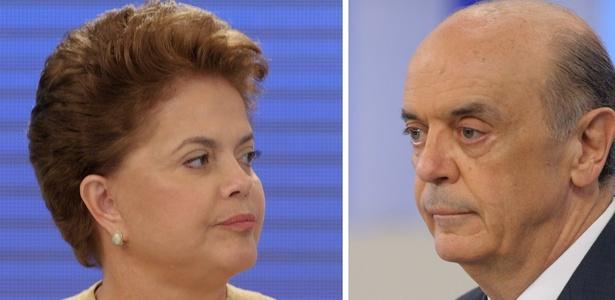 Os presidenciáveis Dilma Rousseff (PT) e José Serra (PSDB) no último debate