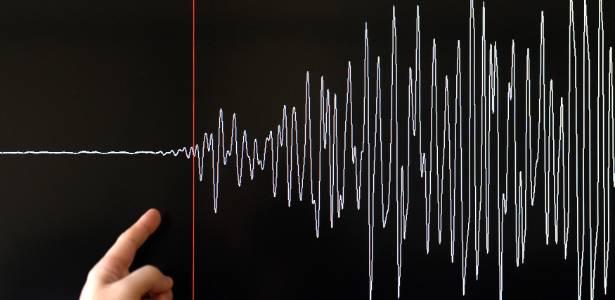 Imagem de registro gráfico de sismógrafo sobre o terremoto de março de 2011 que gerou tsunami no Japão - Frederick Florin/AFP