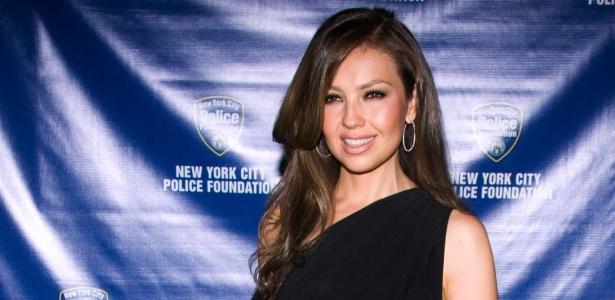 A atriz e cantora mexicana Thalia em evento em Nova York (EUA)
