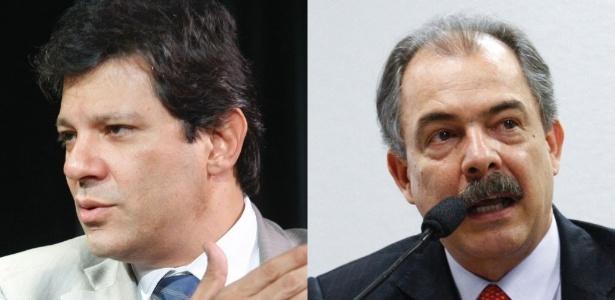 Fernando Haddad (esq.) deixa o Ministério da Educação para concorrer à Prefeitura de São Paulo; Aloizio Mercadante (ex-Ciência e Tecnologia) assume a vaga - Montagem Folhapress e Agência Senado