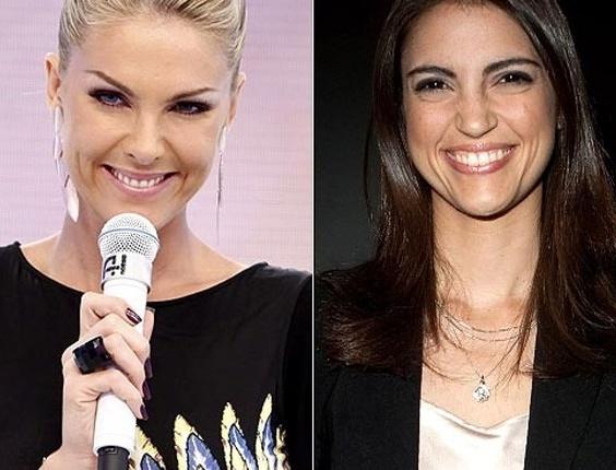 """As apresentadoras da Record Ana Hickmann (esq.), do """"Tudo É Possível"""", e Chris Flores (dir.), do """"Hoje em Dia"""""""