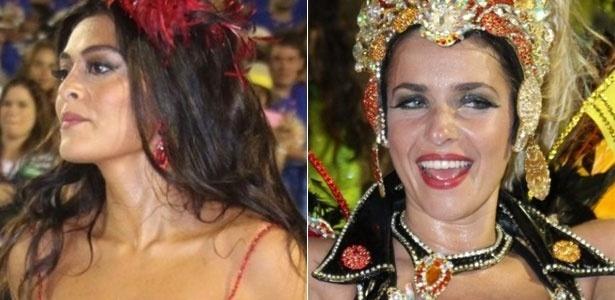 Juliana Paes e Monique Alfradique desfilam por escolas do grupo de acesso no Rio (18/02/2012)