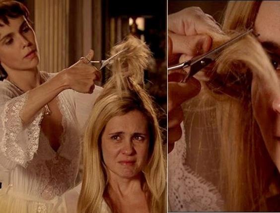 """Em """"Avenida Brasil"""", Nina corta o cabelo de Carminha e faz a megera chorar (26/7/12)"""
